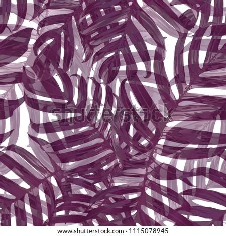 Palm Monstera Seamless Pattern. Purple Tropical Summer Background. Beach Jungle Leaves for Swimwear Design. Lei Rapport. Vintage Hawaiian Print. Tropic Textile Texture.  Botanic tile. #1115078945
