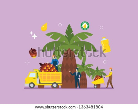 Palm oil, plantation, oil refinery, palm oil research with tiny people illustration. Suitable for hero image, poster, and education.