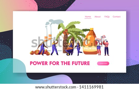 Palm Oil Producing Industry. Workers Collect Fruits, Processing Factory with Pipes Emitting Smoke, Protesters with Stop Banners Website Landing Page, Web Page. Cartoon Flat Vector Illustration, Banner