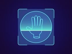 Palm print recognition. Biometric scanning system for human palm, holographic interface of person identification. Hand ID technology. System recognition and verification. Vector illustration