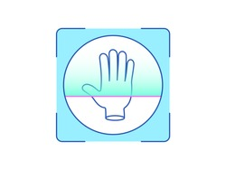 Palm print recognition, icon. Biometric scanning system for human palm, interface of person identification. Hand ID technology. System recognition and verification. Vector illustration