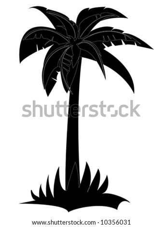 palm silhouette (vector) - stock vector