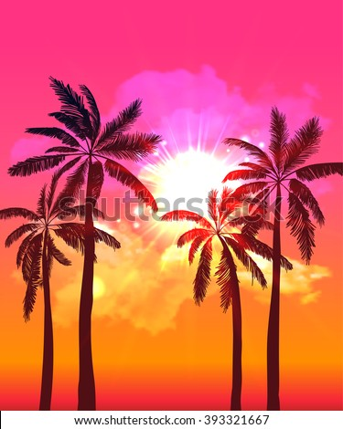 Palm silhouettes on summer sunset with beautiful sky background. Tropical sunset, summer paradise. Vector illustration