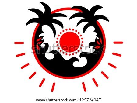 palm  sun beach   sea   vector