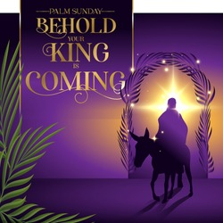 Palm Sunday behold your king is coming lent vector illustration
