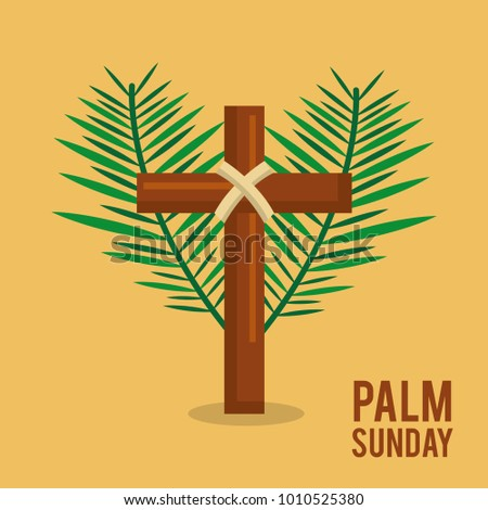 palm sunday branches text with