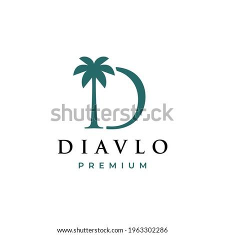 palm tree d letter mark logo vector icon illustration Photo stock ©