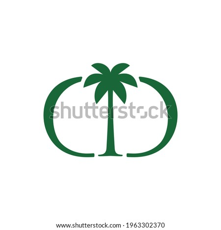 palm tree dd double d letter mark logo vector icon illustration Photo stock ©