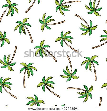 palm tree doodle seamless pattern
