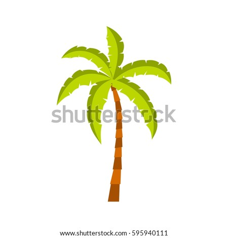 Palm tree icon in flat style isolated on white background vector illustration