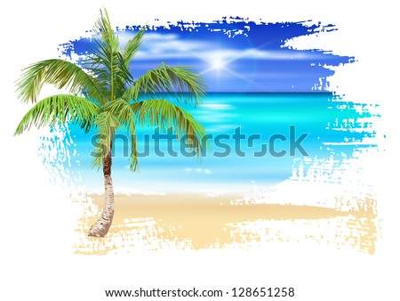 Palm Tree on The Beach Drawing Palm Tree on The Beach
