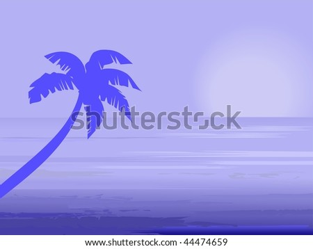 Palm tree over blue sunset seascape
