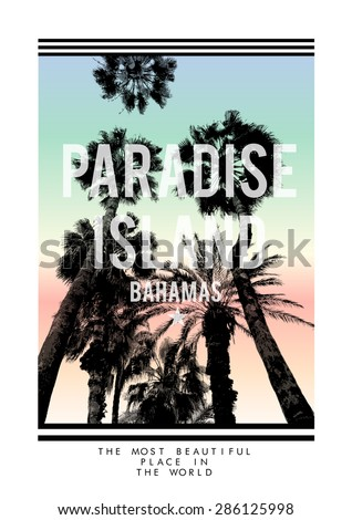 palm tree print with slogan for