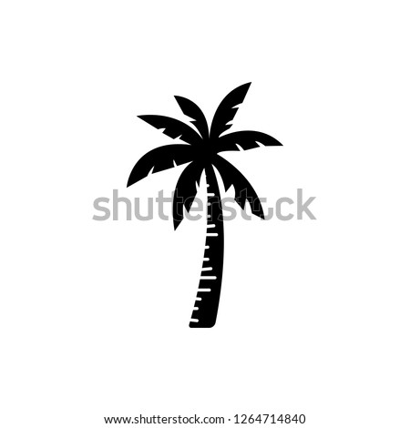 Palm tree silhouette icon vector