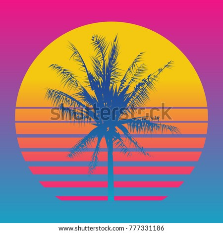 palm tree silhouettes on a