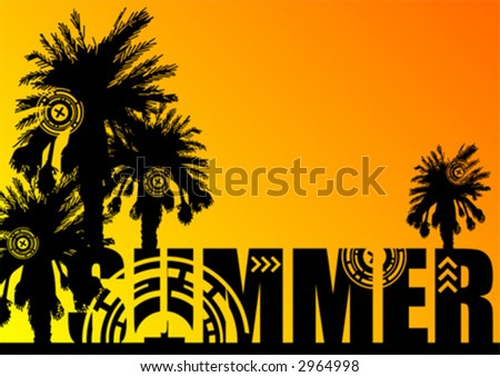 Palm tree silhouettes on top of the word SUMMER over orange and yellow gradient background that can easily be replaced or removed