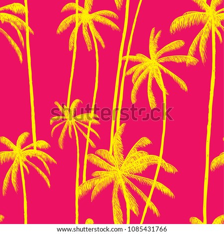 Palm tree summer vector pattern. Fashion colorful hand drawn modern textures on exotic background. Trendy Los Angeles nature textile print. Cool bright tropical template for t-shirt, swimwear Stock foto ©