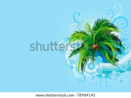 Palm tree. Vector tropical background with palm tree