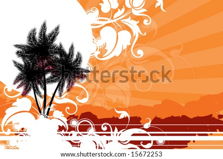 palm trees against the sun decorated with decorative elements