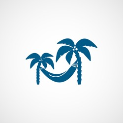 Palm Trees And a Hammock Blue Flat Icon On White Background