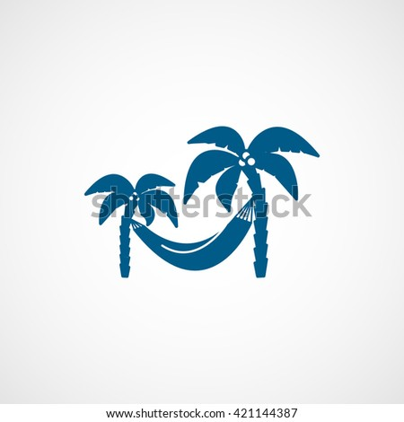 White Vector Palm Trees Flat Icon Turquoise Background Finerworks