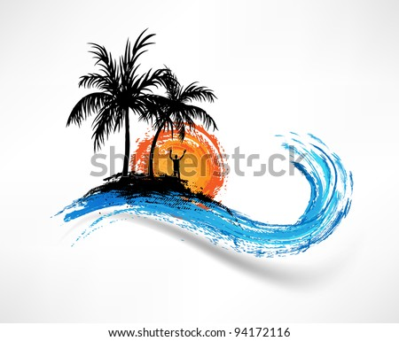 palm trees and ocean wave man