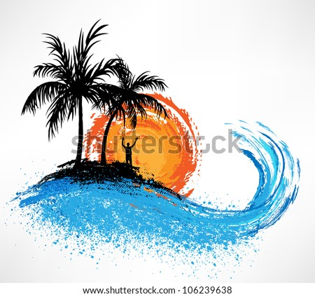 Palm trees and ocean wave. Sunset - stock vector