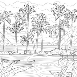 Palm trees by the sea. Coloring book antistress for children and adults. Illustration isolated on white background.Zen-tangle style. Hand draw