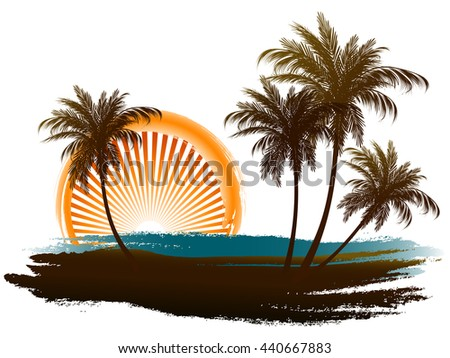 palm trees in the sun pastiche