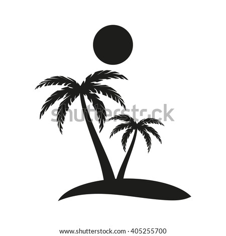 palm trees island isolated