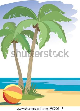 Palm trees on beach, vector