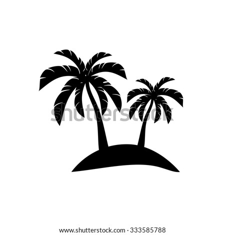 palm trees on island icon