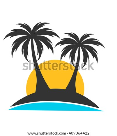 palm trees on island in sunset