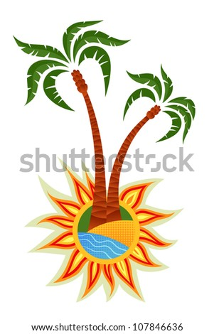 Palm trees on the sun.Isolated on white background.