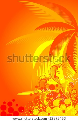 palm trees on tropical beach vector