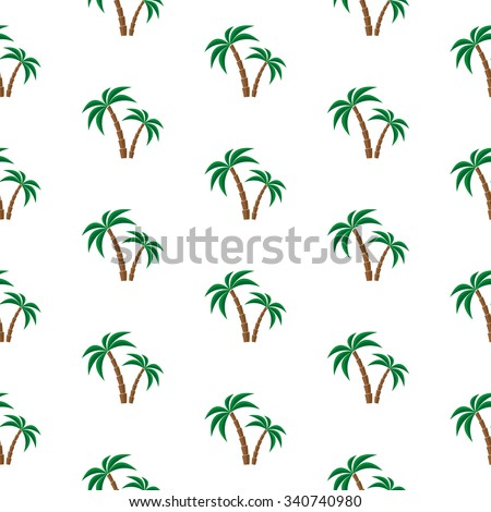 Palm trees. Seamless pattern. Vector illustration on a white background. Swatch inside.