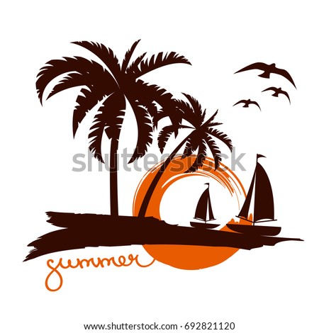 palm trees silhouette emblems