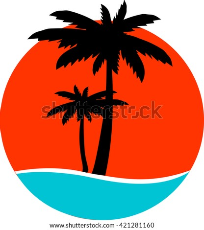 palm trees silhouette on island