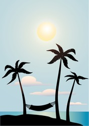 palm trees silhouettes over a blue sky