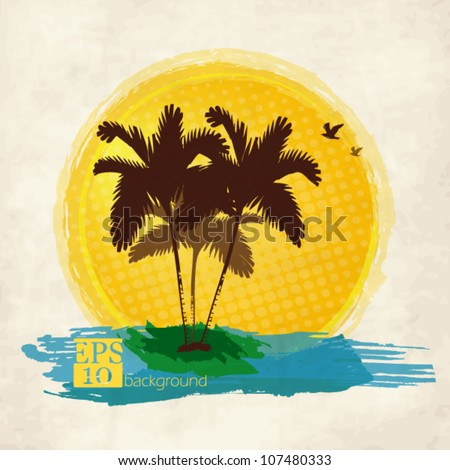 Palm trees, sun and birds on a grunge vintage background