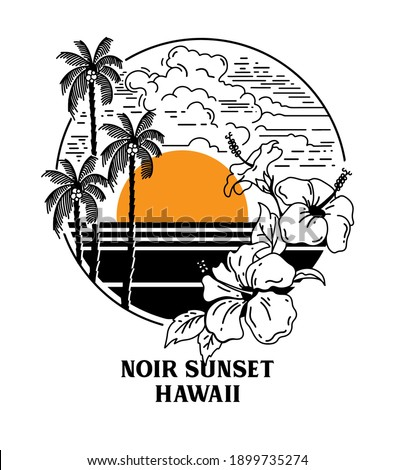 palms and beach scene with hibiscus flowers vector illustration slogan print design