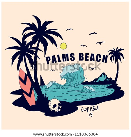 Palms beach vector illustration.Summer t-shirt design.