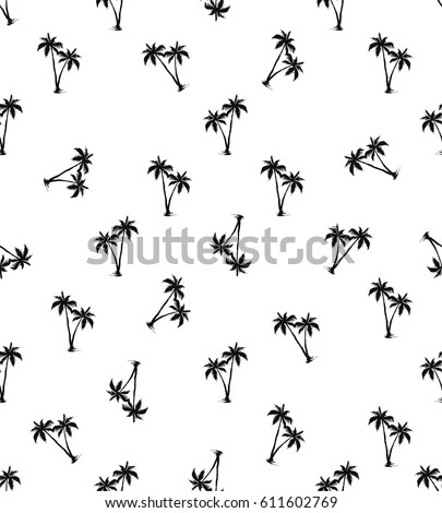 Palms pattern. Seamless design, white background. vector editable file