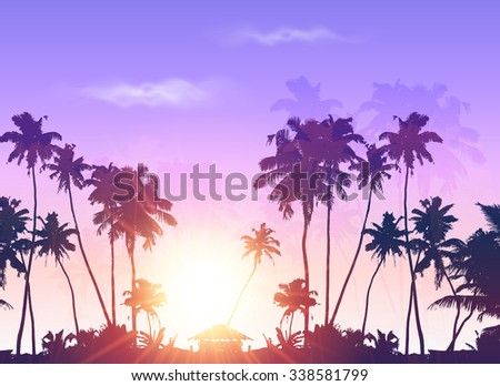 palms silhouettes at purple
