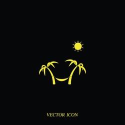 Palms, sun and hammock flat vector illustration isolated on black background.