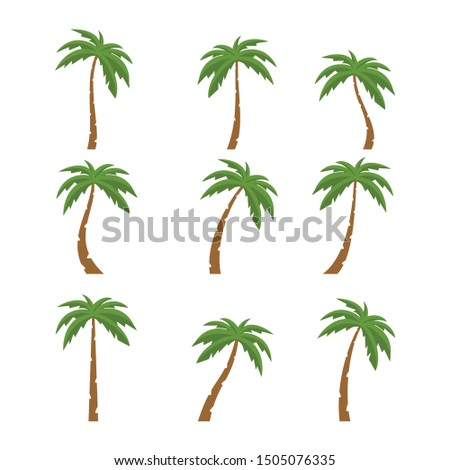 palms tree icons with color on