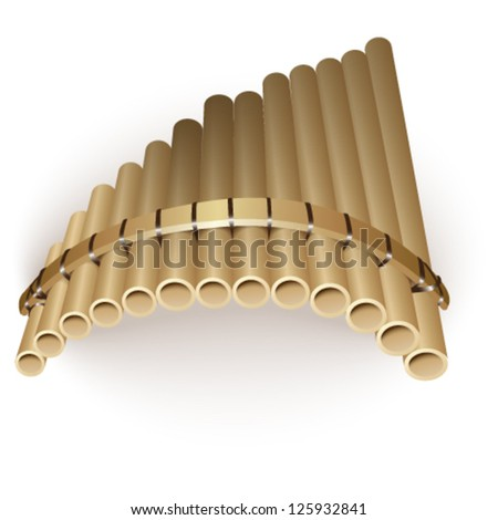 Pan flute, isolated on white. Vector illustration