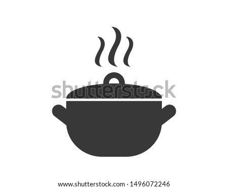 Pan icon. Pot icon. Cooking in pot . Cook icon.  Soup pot icon.