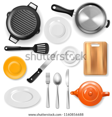Pan vector kitchenware or cookware for cooking food with kitchen utensil cutlery and plate illustration set of dishware and frying-pan or pot isolated on white background