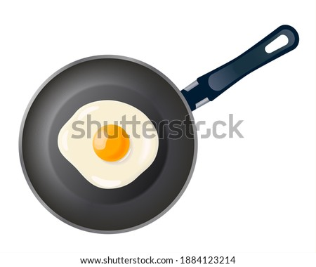 Pan with fried egg isolated on white background. Cooking foods. Cooked omelet. Cooking lunch, dinner, breakfast. Scrambled eggs. Metallic utensil for frying. Cook tools. Eggs Omelette.Top view. EPS 10 Stockfoto ©